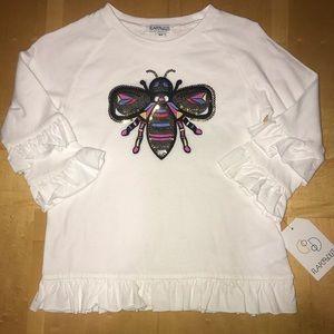 👧🏼Flapdoodles Bug Sequin Applique Ruffle Shirt